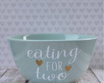 Eating for Two bowl, pregnancy announcement, mommy to be bowl, mint