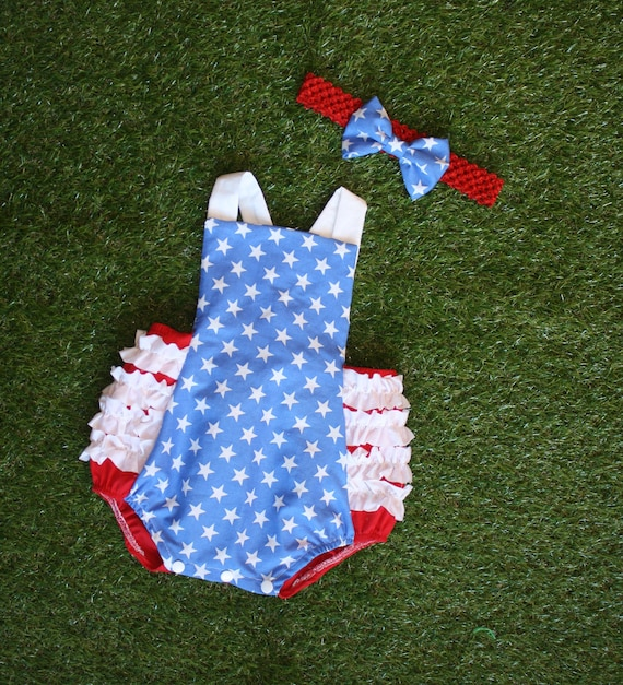 May The Fourth Be With You Baby Clothes: 4th Of July Romper Baby Girl Clothes Bubble Romper