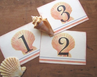 Table Numbers Beach Theme Wedding Seashell Summer Party Table Numbers