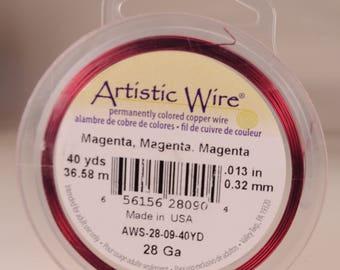 Artistic wire 28 gauge: copper core, fuchsia color