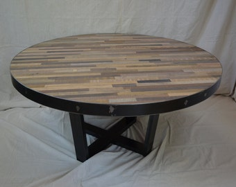 Industrial Rustic Dining Table in Mixed wood.