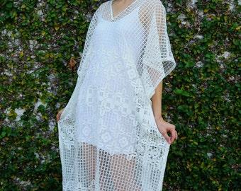Vintage Upcycled/ Lace kaftan/ Lace Dress/ Vintage Upcycled Dress/ Maxi Dress/ Boho Dress/ White Lace Maxi Dress/ Vintage Lace Dress/ LARGE