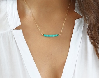 Dainty Turquoise Necklace, Delicate Turquoise Gemstone Bar Necklace on 14k Gold Filled Chain, Genuine Turquoise Necklace