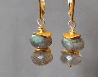 Gold labradorite earrings, gold dangle earrings, labradorite drop earrings, labradorite dangle earrings, labradorite and gold earrings,