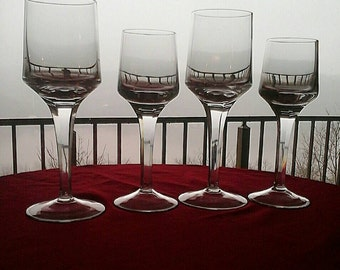 Vintage Denby Frederick Clear Leaded Crystal 6 Sided Cut Tall Stem 2 Wine Glasses and 2 Water Goblets