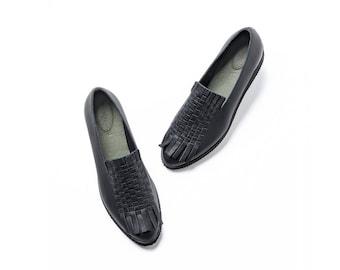 Black woven platform shoes for women