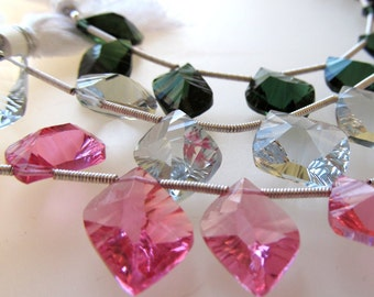 Lipstick Pink Quartz Faceted Special Cut Modern Leaves 15 X 10mm - 8 inch Strand