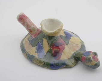 Multi-colored painted turtle tobacco pipe