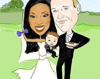 Wedding Caricature Portrait Sign in Board- Digital Artwork