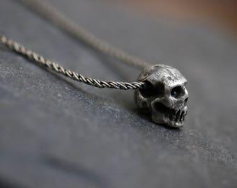 Mini Skull Pendant- Skull Pendant- Memento Mori- Skull Charm - Skull Necklace- Silver Skull Charm - Gothic Skull Charm