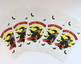 Vintage Halloween Trick or Treat Bags, Set of 5/ Halloween Witch Candy Bag