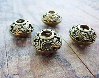 Bead Metal Bead Antiqued Gold Big Hole Filigree Beads (2) IG407