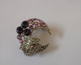 Beautiful Sparkly Purple Brooch.... Small Celestial Brooch. Moon and Stars Brooch..UK