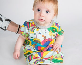 Baby Woodland dress with squirrels -ORGANIC kids dress- Toddler Tunic dress -Play dress -Organic clothes with kites, hot air balloon rainbow