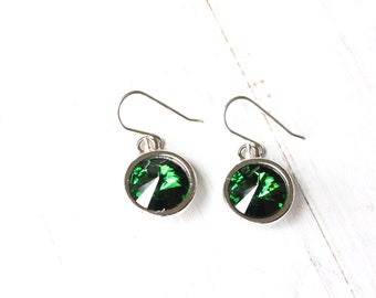 Green Crystal Rivoli Earrings, Green Swarovski earrings, Green and Silver Earrings, modern style, bridesmaid earrings, holiday earrings