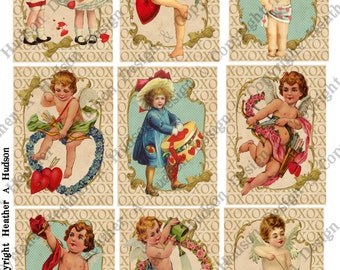 Valentine's Day Cherubs Children Cupid Focals 9 images ATC  Vintage Shabby Printable 10 Digital Collage Sheets Victorian Papers Instant
