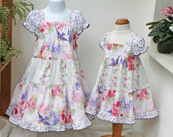 Floral Girls Dress Ruffled Spring Dress Girls Tiered Twirl Dress Bird Cotton Summer Girl Clothes Child Clothing 2T 3T 4T 5 6 7 8 10 12 14