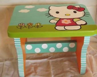 Whimsical Hand Painted Stool, Step Stool, Kids Stool, Hello Kitty Stool, Toddler Stool, Kids Furniture, Nursery Decor