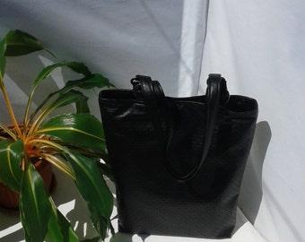 Black vegan leather bag with key ring, black tote bag, big black bag, book bag, perforated vegan leather bag