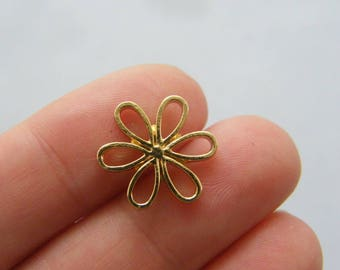 6 Flower charms gold tone GC325