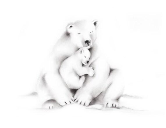 Polar Bear Nursery Pencil Drawing Print Polar Bear Family