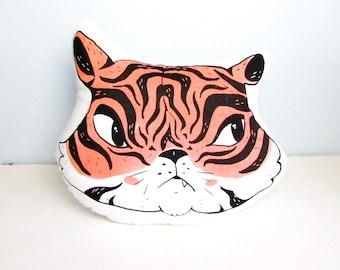 Sassy Tiger Shaped Animal Pillow. Hand Pulled Screenprint. Grumpy Face. Ready to Ship.