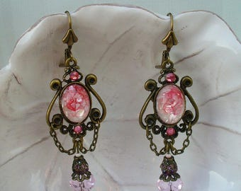 Bronze and pink earrings