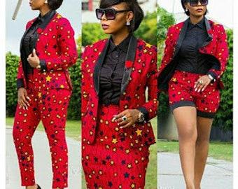 Ladies Ankara blazer. Formal and classic single-breasted ankara blazer with black lapel. Women blazer with matching pants, skirts or shorts.