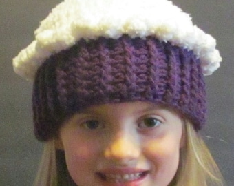 Crochet Cupcake Hat ~ size small ~ White top with purple bottom