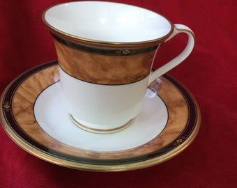 Noritake Cabot Bone China Vintage Brown Gold Cup Saucer Set, birthday gift