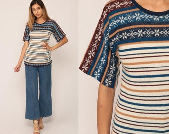 Boho Shirt Short Sleeve Sweater Top 70s Fair Isle Sweater Nordic Knit Shirt Striped 80s Vintage Hipster Top Bohemian Blue Extra Small xs
