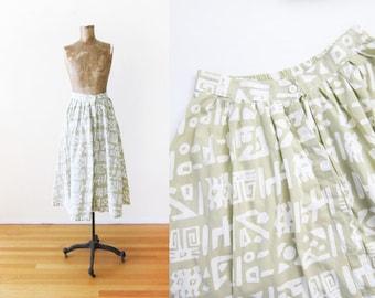80s skirt - button front skirt - geometric abstract print skirt - tan white full skirt -vintage circle skirt - spring skirt - Medium