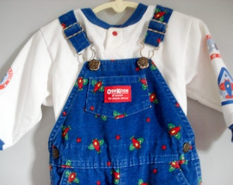 Vintage Osh Kosh overalls outfit - 18 months - airplanes