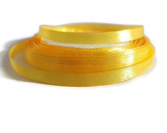 Golden yellow satin ribbon 6mm