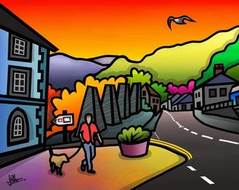 Blaenau Ffestiniog - colourful fine art print by Amanda Hone