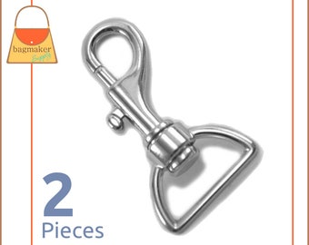 "1 Inch Bolt Style Swivel Snap Hooks, Nickel Finish, 2 Pieces, Handbag Purse Bag Making Hardware Supplies, 1"", SNP-AA050"