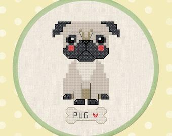Cute Pug Cross Stitch Pattern, Pet Dog Cross Stitch, Modern Simple Cute Counted Cross Stitch Pattern PDF Instant Download