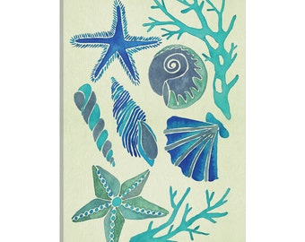 iCanvas Blue Seashells Artprint Gallery Wrapped Canvas Art Print by Cat Coquillette