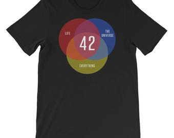Guide To The Galaxy 42 The Answer to Life The Universe and Everything Shirt | Venn Diagram Shirt | Funny Geek T Shirt | Science Fiction Tee
