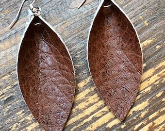 Pebbled Brown Leather Leaf Earrings-Joanna Gaines Inspired Earrings-Large Leather Earrings-Lightweight Earrings