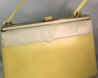 Vintage leather purse BUTTER YELLOW
