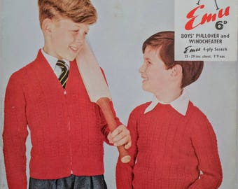 Original Emu Knitting Pattern Boys Pullover and Windcheater 4ply 1960s