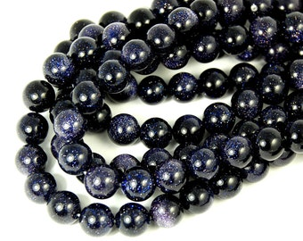 """Two 15"""" strands Blue Goldstone Beads 10mm"""