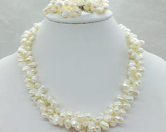 Barouque freshwater pearl set(100% natural pearl)