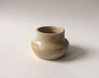 small whitewashed wide mouthed vase