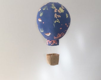 For the Birds Flowers Fabric Hot Air Balloon Nursery Decor - Single Large