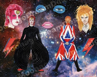 Intergalactic David Bowie Stickers (Ziggy Stardust, Labyrinth, Life on Mars, Earthling)