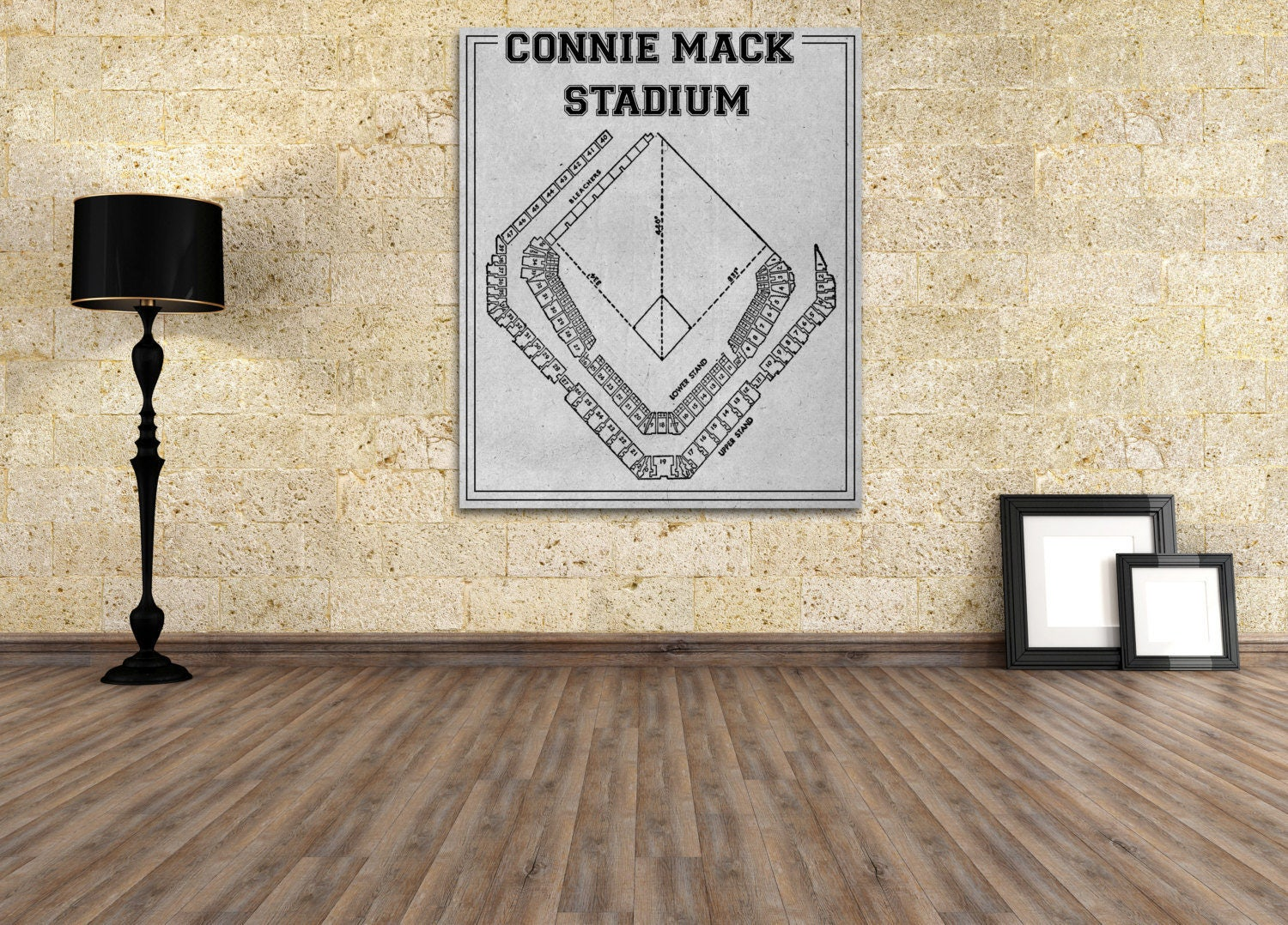 Vintage print of connie mack stadium seating chart philadelphia vintage print of connie mack stadium seating chart philadelphia athletics baseball blueprint on photo paper matte paper or stretched canvas malvernweather Image collections