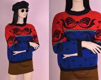 80s Bow Polka Dot Sweater/ Medium/ 1980s/ Red/ Blue/ Black