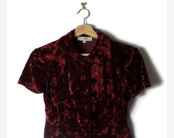 ON SALE Vintage Burgundy Velour Short sleeve Blouse  from 80's